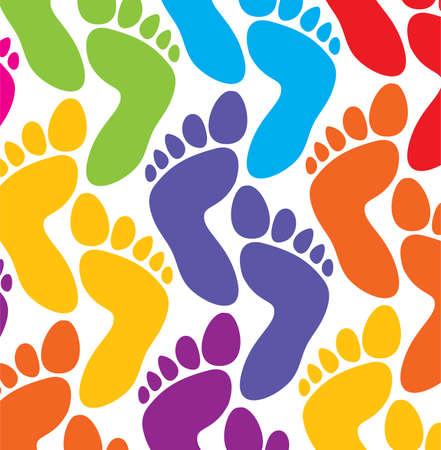 footprint: Fondo de coloridos pies de vector