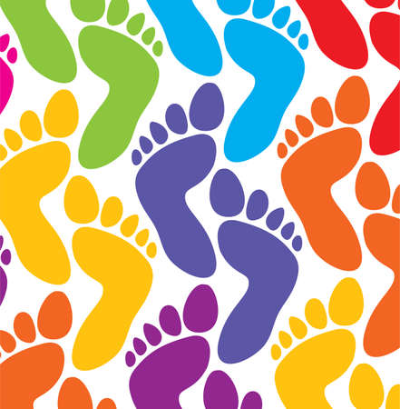 foot marks: vector colorful feet background
