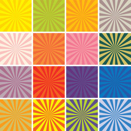sunburst: vector retro background set