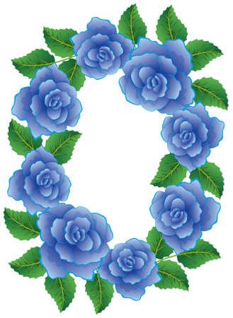 vector frame gemaakt van blauwe rozen met bladeren