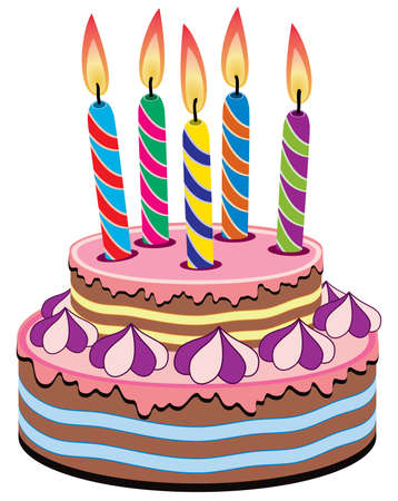 vector birthday cake with burning candles Vector