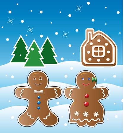 vector holiday illustration of gingerbread cookies Stock Vector - 8297600