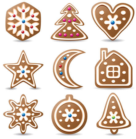 vector set of nine gingerbread cookies Stock Vector - 8297629