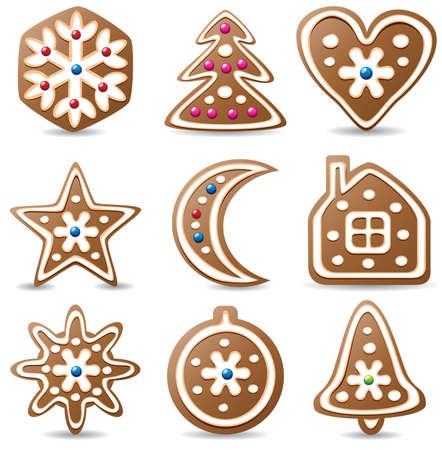 spice cake: vector set of nine gingerbread cookies