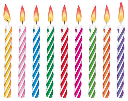 conjunto de vector de velas en su cumpleaños coloridos