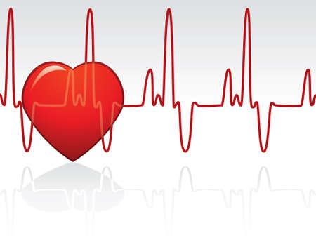 vector heart and heartbeat Vector