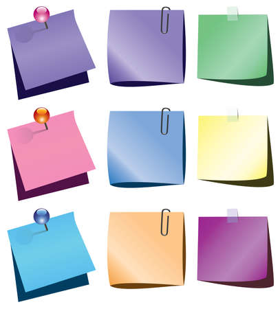 sticky notes: aantekeningen op papier met push pins en paperclip Stock Illustratie