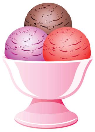 ice cream cup: icecream in a bowl Illustration