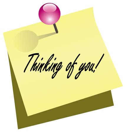 note de service: note de papier jaune avec push pin Illustration