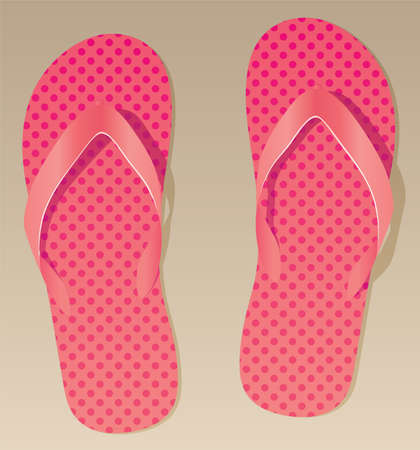 pair of pink flip flops on the sand Vector