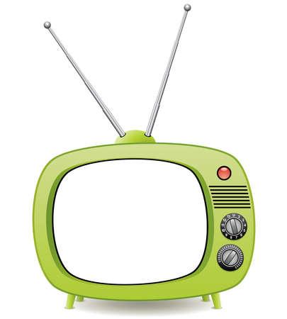 omroep: groene retro tv set Stock Illustratie
