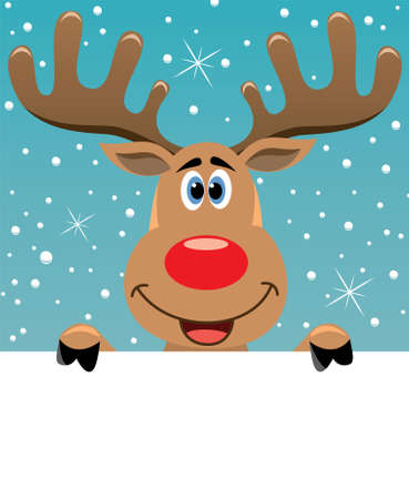 xmas illustration of happy rudolph deer holding blank paper for your text Vector