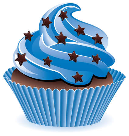 cupcake illustration: blue cupcake with chocolate sprinkles Illustration