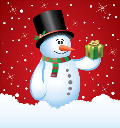 illustration of snowman with a gift Vector