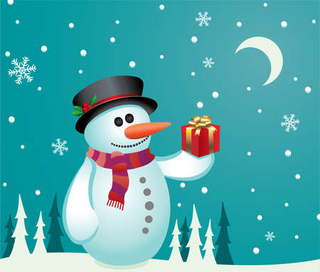 illustration of a snowman with a gift Vector