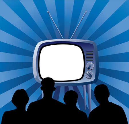 cable tv: vector illustration of family watching retro tv set Illustration