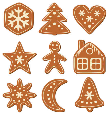 spice cake: vector set of gingerbread cookies Illustration