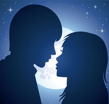 romanticismo: silhouette di vettore di giovane uomo e donna, alla luce di una luna Vettoriali