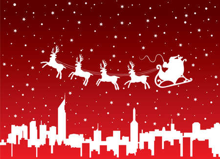 urban xmas holiday background with santa Stock Vector - 8406782