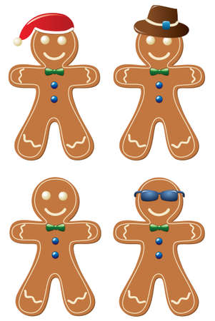 gingerbread cookies: vector set of gingerbread cookies Illustration