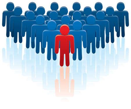 follow the leader: vector illustratie van een team en een leider