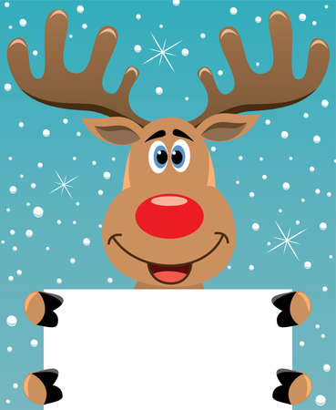 cartoon reindeer: vector xmas illustration of happy rudolph deer holding blank paper for your text