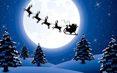 vector xmas holiday background with santa Illustration