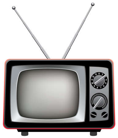 tv antenna: vector illustration of retro tv set Illustration