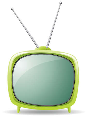 retro tv: vector green retro tv set