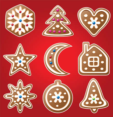 vector set of nine gingerbread cookies Stock Vector - 8406816