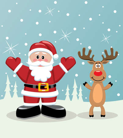 vector xmas illustration of santa and rudolph deer Stock Vector - 8406803