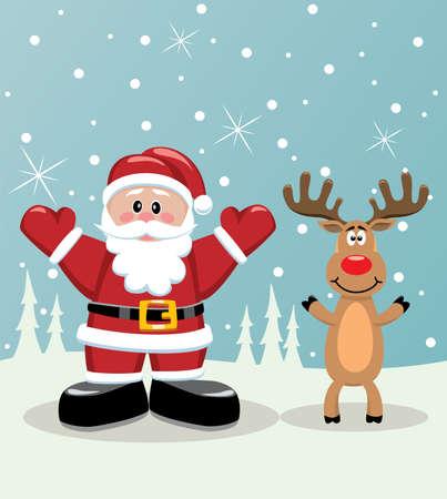 rudolph: vector xmas illustration of santa and rudolph deer