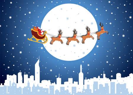 urban xmas holiday background with santa Stock Vector - 8406822