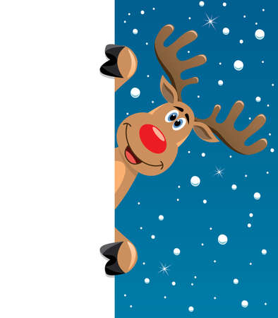red deer: vector xmas illustration of happy rudolph deer holding blank paper for your text