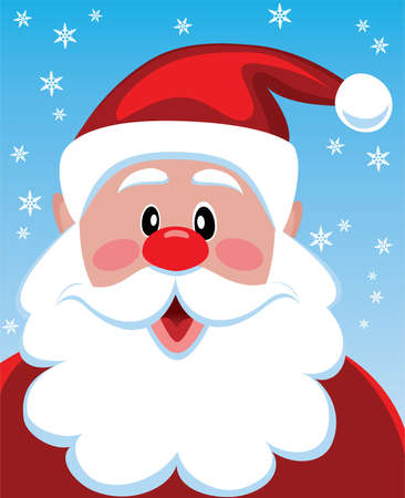 opened mouth: vector xmas illustration of santa with big beard for your text