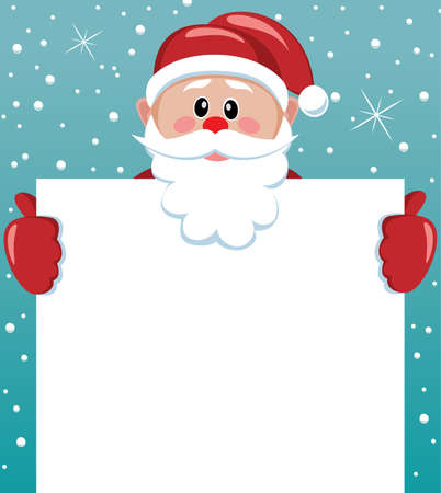 santa claus hats: vector xmas illustration of santa holding blank paper for your text