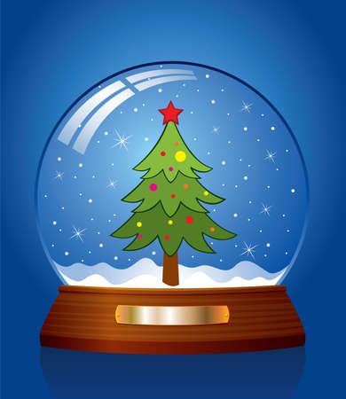 vector snow globe with green xmas tree inside Vector