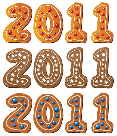 new year gingerbread cookies Stock Vector - 8437435