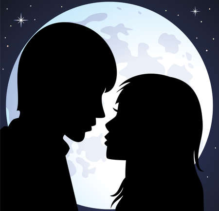 dark face:  silhouette of young man and woman