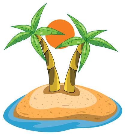 palms on island clip-art Vector