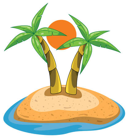 palms on island clip-art Vector