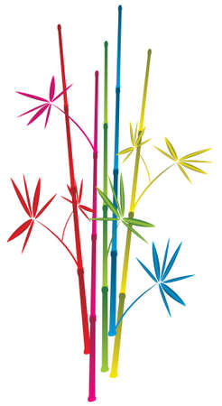 illustration of colorful bamboo branches Vector