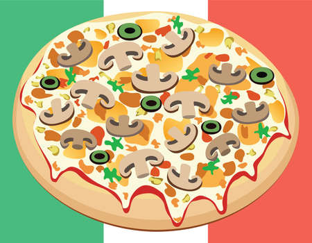pizza on italian flag Stock Vector - 8437394