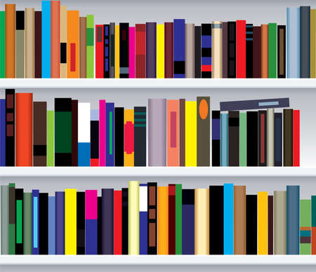bookcase: illustration of modern bookshelf