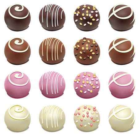 set of chocolate candies Vetores