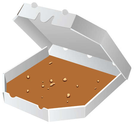paper box for pizza with crumbs Vector