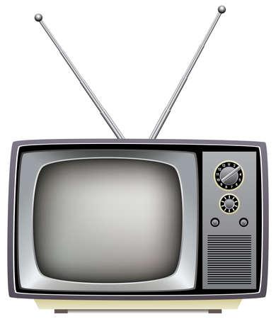 television set:  illustration of retro tv set