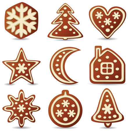 holiday cookies: conjunto de nueve de las cookies de pan de jengibre Vectores