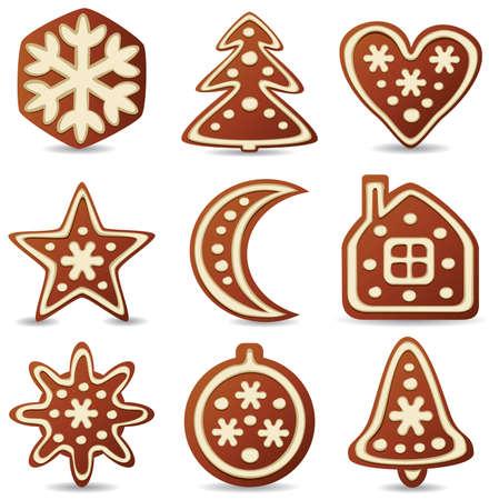 set of nine gingerbread cookies Vector