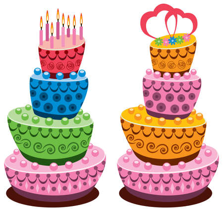 birthday and wedding cakes with burning candles and hearts Vector